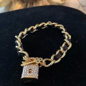 Juicy Couture Pave Padlock & Key  Toggle Bracelet